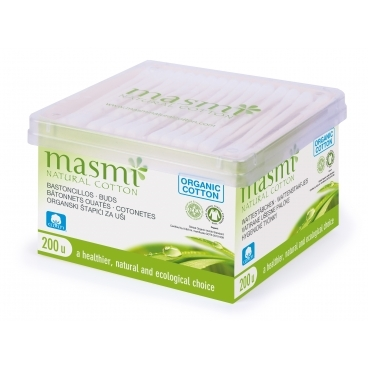 Hygienické tyčinky z organickej bavlny Masmi, 200 ks