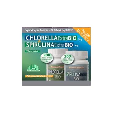 DUOPACK Chlorella Extra + Spirulina Extra BIO (200 + 200 tabletiek) - výživový doplnok