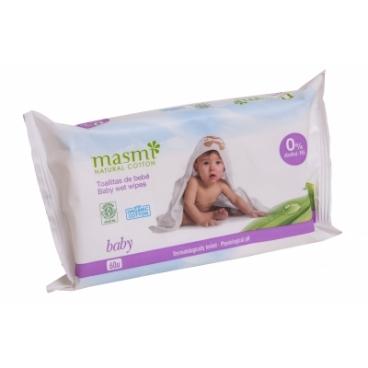 Detské vlhčené obrúsky z organickej bavlny MASMI
