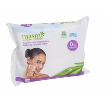 Vlhčené odličovacie obrúsky z organickej bavlny MASMI