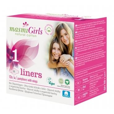 Masmi GIRLS slipové vložky z  organickej bavlny s krídielkami, 12 ks