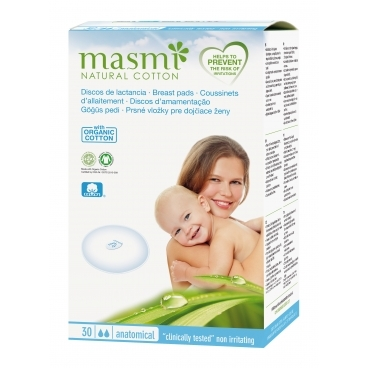 AKCIA - Prsné vložky pre dojčiace ženy z prírodnej bavlny Masmi, 30 ks